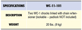 WC-11-101 Specs Table